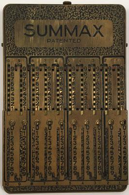 Ábaco de ranuras SUMMAX, sin s/n, hecha por Wilhelm Lampadius GmbH en Leipzig (Alemania), año 1923, 10x15 cm