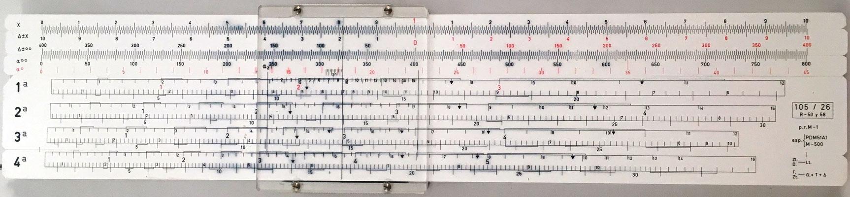 Regla de artillería ARISTO 90119 para obús 105/26 mm, sistema RIVERA (escalas 1ª, 2ª, 3ª), año 1970, 33x7.5 cm