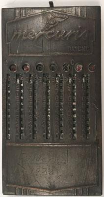 Ábaco de ranuras MERCURIO, fabricado en Argentina, año 1930, 6x12 cm