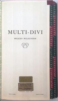 Libro de multiplicaciones MULTI-DIVI MAXIMAL, año 1956, 15x27 cm