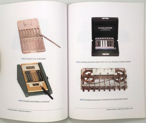 Páginas 24 y 25 del catálogo: ábacos de ranura, cadena y sumadora de contabilidad