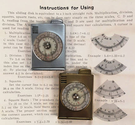 "Encendedores CORONA con mini-círculo de cálculo ""STAR"", hacia 1970, 4x5 cm"