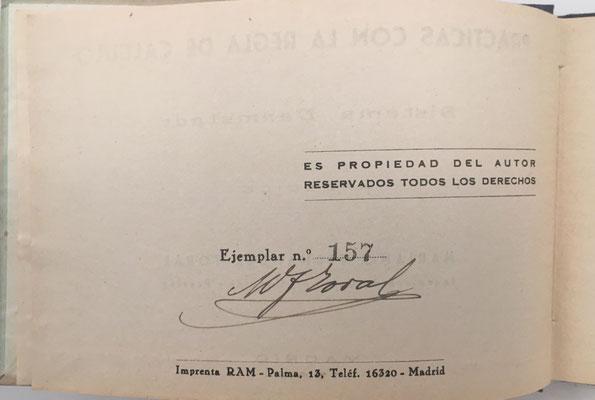 Volúmen IV de PRÁCTICAS CON LA REGLA DE CÁLCULO de FERNÁNDEZ TORAL, ejemplar nº 154, año 1944, 165 páginas