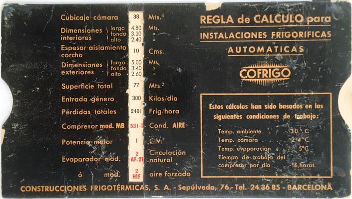 Regla técnica COFRIGO, para instalaciones frigoríficas automáticas, fabricada por Construcciones Frigotérmicas S.A., Barcelona, 18x10 cm