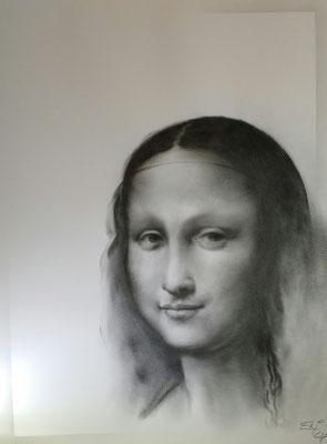 Mona Lisa     Kohlemalerei - Kohlezeichnung Format 65cm x 50cm