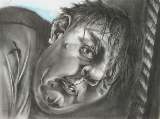 Quasimodo,      Kohlemalerei - Kohlezeichnung Format 65cm x 50cm