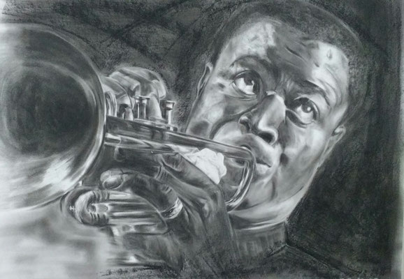 Satchmo,   Louis Armstrong,     Kohlemalerei - Kohlezeichnung Format 65cm x 50cm