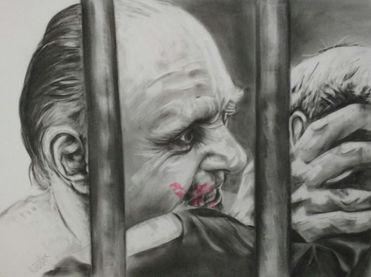 Dr. Hannibal Lecter,    Anthony Hopkins,     Kohlemalerei - Kohlezeichnung Format 65cm x 50cm