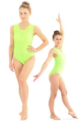 Damen Body ohne Ärmel Rundhals Neongrün