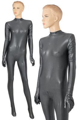 ML-Sport24 Damen Wetlook Catsuit lange Ärmel mit Handschuhen und Beine mit Füßen Rücken- und Schritt-RV Anthrazit