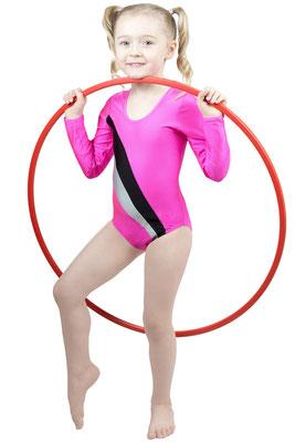 ML-Sport24 Kinder Gymnastikanzug Claudia Pink-Schwarz-Silber