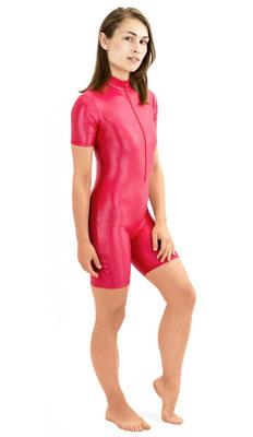 ML-Sport24 Damen Wetlook Catsuit kurze Ärmel und Beine Front-RV Rot