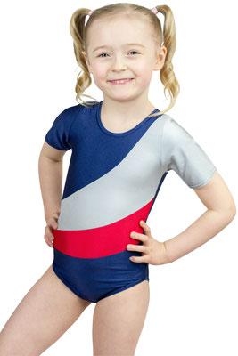 ML-Sport24 Kinder Gymnastikanzug Diana Marine-Silber-Rot