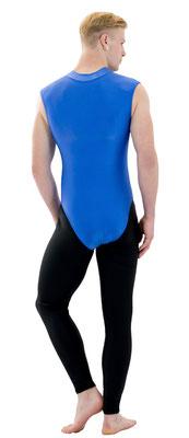 Herren Body ohne Ärmel Kragen und Frontreißverschluss Royalblau