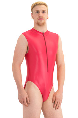 Wetlook Herren Body ohne Ärmel Kragen Frontreißverschluss rot