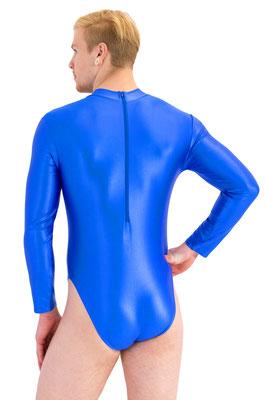 Wetlook Herren Body lange Ärmel Kragen Rückenreißverschluss rot