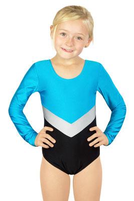 ML-Sport24 Kinder Gymnastikanzug Annabell Türkis-Silber-Schwarz