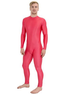 Wetlook Ganzanzug lange Ärmel lange Beine Rückenreißverschluss Rot