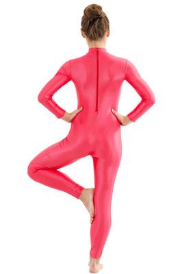 ML-Sport24 Damen Wetlook Catsuit lange Ärmel und Beine Rücken-RV Rot