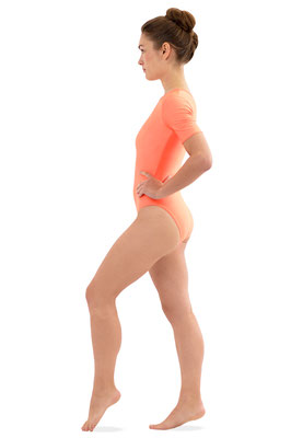 ML-Sport24 Damen Body kurze Ärmel Rundhals Orange