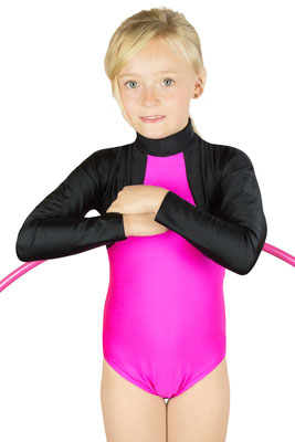 ML-Sport24 Kinder Gymnastikanzug Franzi Schwarz-Pink