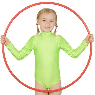 ML-Sport24 Kinder Gymnastikanzug lange Ärmel Kragen Rücken-RV Neongrün