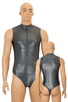 Herren Wetlook Stringbody Leotard ohne Ärmel Front-RV Anthrazit