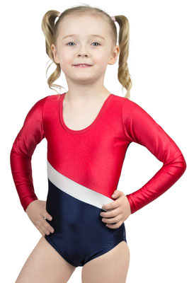 ML-Sport24 Kinder Gymnastikanzug Bertha Rot-Silber-Marine