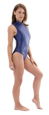 Damen Wetlook Body ohne Ärmel Rückenreißverschluss Marine Dunkelblau