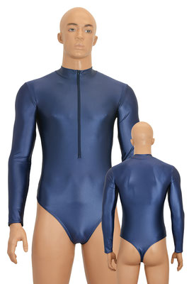 Herren Wetlook Stringbody Leotard lange Ärmel Front-RV Marine