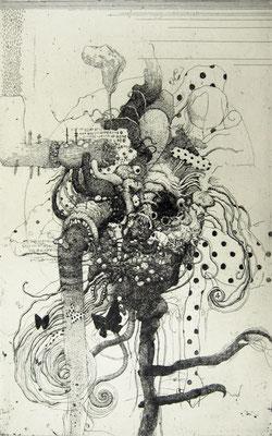 """My Funny Gargoyle""<br>エッチング、雁皮刷り<br>40.7×25.8cm/ED.15"