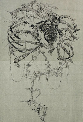 """Mercuro""<br>エッチング、雁皮刷り(色雁皮)<br>90×60 cm/非売品"