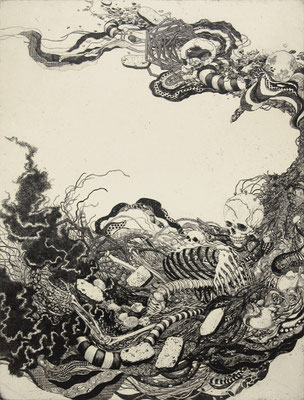 """""""memento mori""""<br>エッチング、雁皮刷り<br>78×59cm/ED.5"""