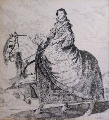 REINA A CABALLO - Version sobre un grabado de Francisco de Goya - Plumilla