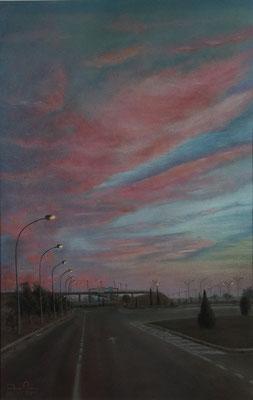 ATARDECER EN EL POLIGONO - Pastel sobre papel Canson (33 x 51) - 2011