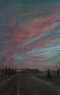 ATARDECER EN EL POLIGONO - Pastel sobre papel Canson (33 x 51) - 2011 (En venta)