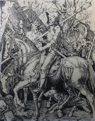 EL CABALLERO Y LA MUERTE - Copia del grabado de Alberto Durero - Plumilla
