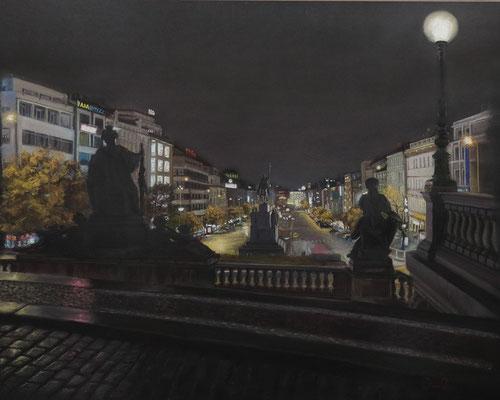PLAZA DE WENCESLAO (Praga) - Pastel sobre papel Canson (57 x 45) - 2013