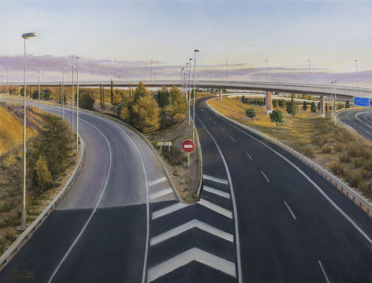 ATARDECER EN LA AUTOVIA - Pastel sobre papel Canson (54 x 41) - 04/2021 (En venta)