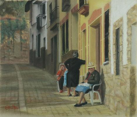 COSIENDO AL SOL (Pasarón de la Vera - Cáceres) - Pastel (51 x 43) - 2011