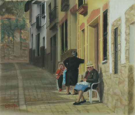 COSIENDO AL SOL (Pasarón de la Vera - Cáceres) - Pastel sobre papel Canson (51 x 43) - 2011
