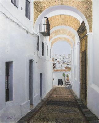 VEJER DE LA FRONTERA - Pastel sobre papel Canson Mi Teintes Touch (42 x 54) - 2020 (En venta)