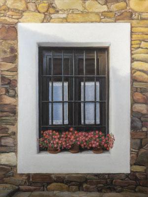 PETUNIAS EN CASTRILLO DE LOS POLVAZARES - Pastel sobre papel Canson (41 x 54) - 10/2020 (En venta)