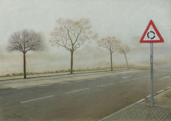 ARBOLES EN LA NIEBLA - Pastel sobre papel Canson (56 x 39) - 2018 (En venta)