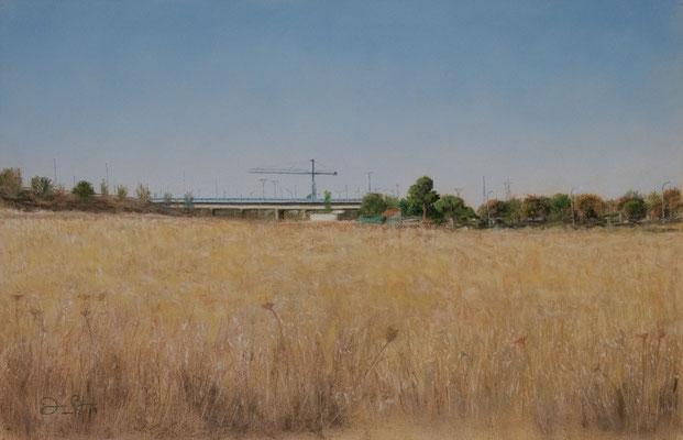 LA GRUA DEL POLIGONO - Pastel sobre papel Canson (42 x 28) - 2019 (En venta)