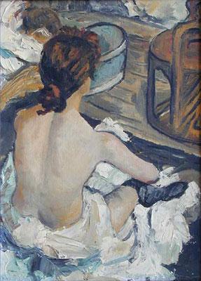 EL BAÑO - Versión de la pintura de Tulouse Lautrec - Oleo