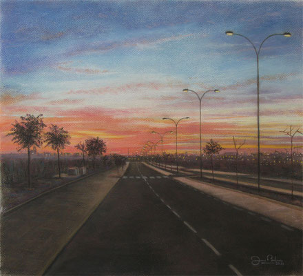 ATARDECER EN EL POLIGONO 2 - Pastel sobre papel Canson - 2011
