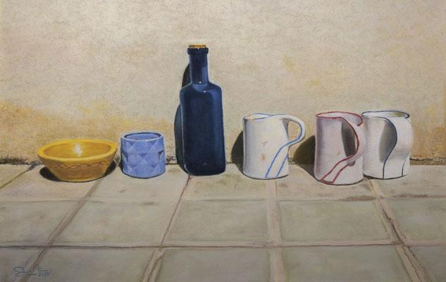 BODEGON URBANO - Pastel sobre papel Canson (58 x 40) - 09/2020 (En venta)