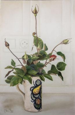JARRA CON CAPULLOS DE ROSA - Pastel sobre papel Canson (33 x 50) - 10/2020