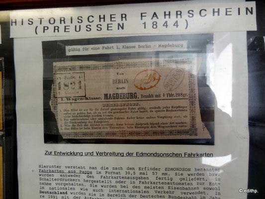 historischer Fahrschein: Berlin - Magdeburg 1844